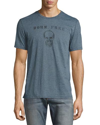 Born Free Skull Graphic T-Shirt, Gray Blue