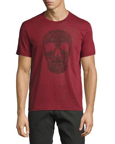 Ornate Skull Graphic T-Shirt, Brick