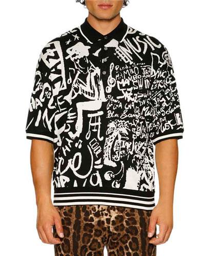 Jazz-Print Jacquard Knit Silk Polo Shirt, Black/White