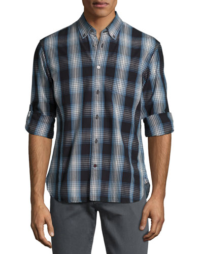 Garment-Wash Check Sport Shirt, Blue