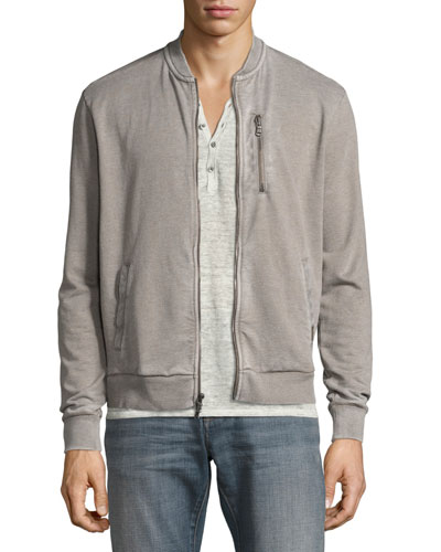 French Terry Zip-Front Track Jacket, Light Gray