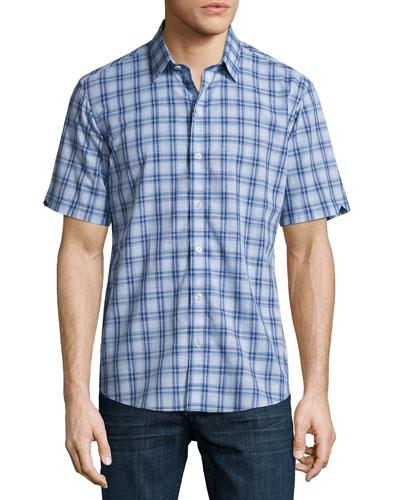 Hwang Plaid Short-Sleeve Shirt, Light Blue