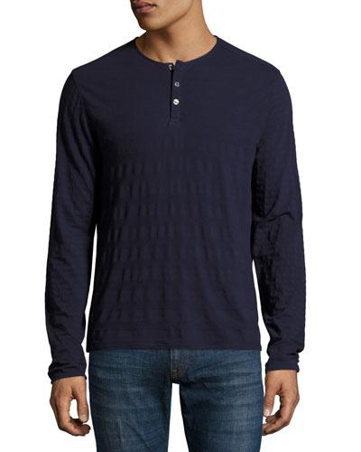 Redwood Tonal-Stripe Henley Shirt, Navy