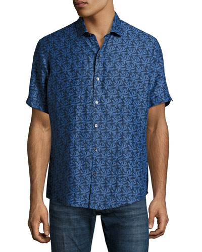 Mehmet Palm Leaf Short-Sleeve Sport Shirt, Navy