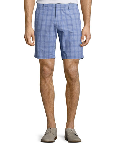 Antrorse Check Stretch-Cotton Shorts, Blue