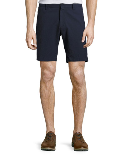 Costa Seersucker Stretch-Cotton Shorts, Navy