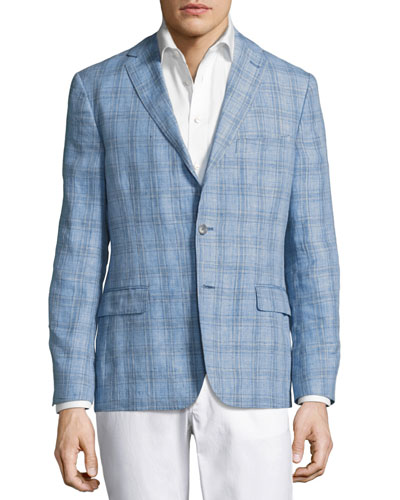 Laxus Plaid Linen Blazer, Light Blue