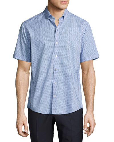 Parker Abstract Short-Sleeve Shirt, Teal