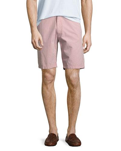 Fringe Micro-Gingham Seersucker Shorts, Coral