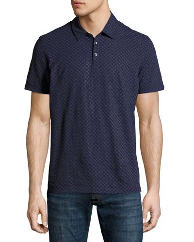Mays Geometric-Print Polo Shirt, Navy
