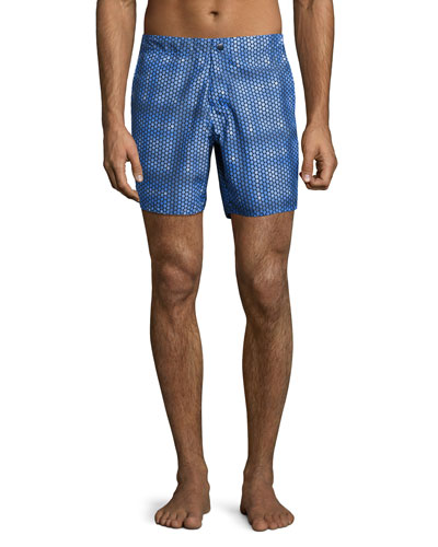 Torreya Geometric-Print Swim Trunks, Blue