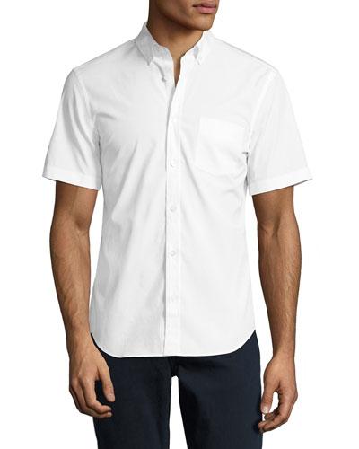 Cambridge Short-Sleeve Stretch-Cotton Shirt, White