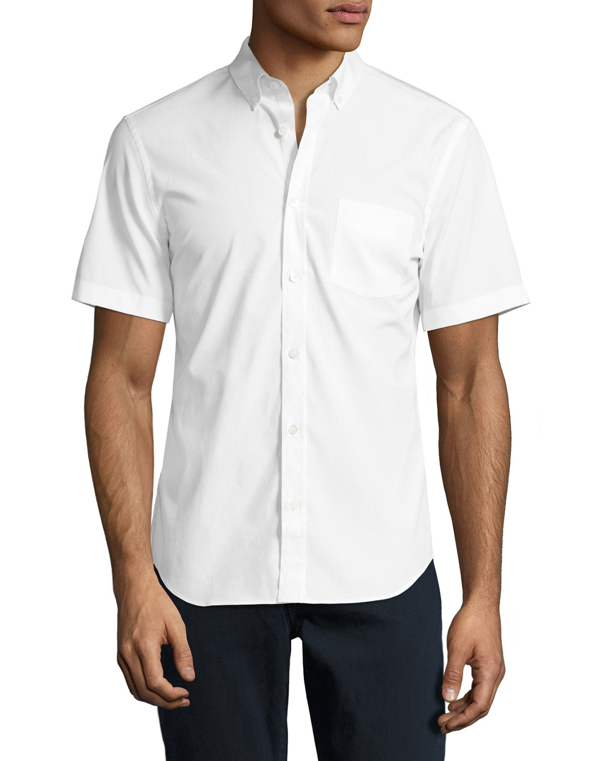 Cambridge Short-Sleeve Stretch-Cotton Shirt, White