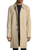 Oakham Gabardine Single-Breasted Car Coat, Honey (Beige)