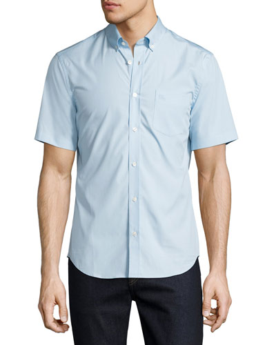 Cambridge Short-Sleeve Stretch-Cotton Shirt, Light Blue