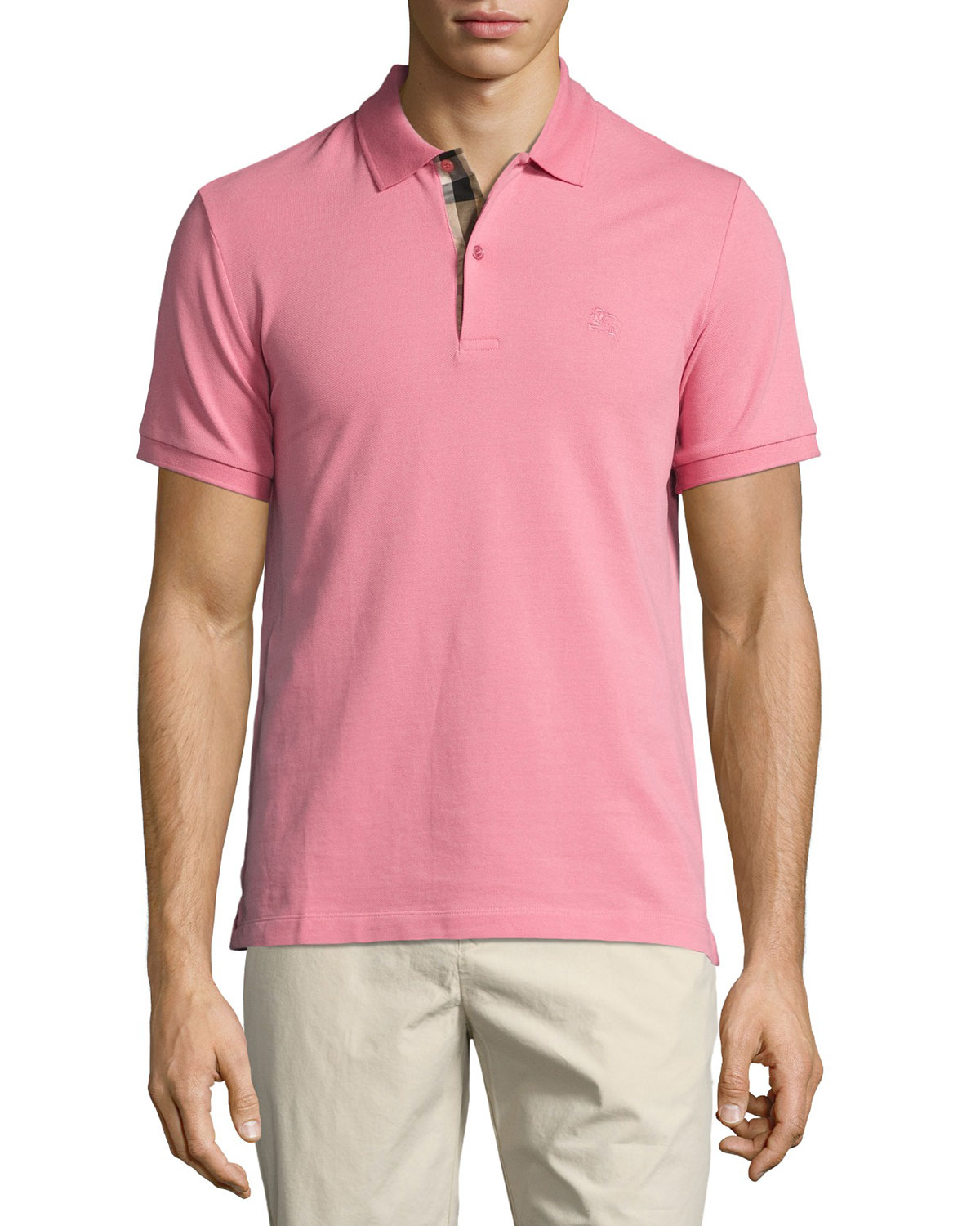 Short-Sleeve Oxford Polo Shirt, Light Pink