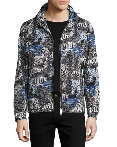British Seaside Coastal-Print Hooded Technical Jacket, Steel Blue