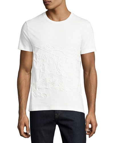 Embroidered Equestrian Knight T-Shirt, White