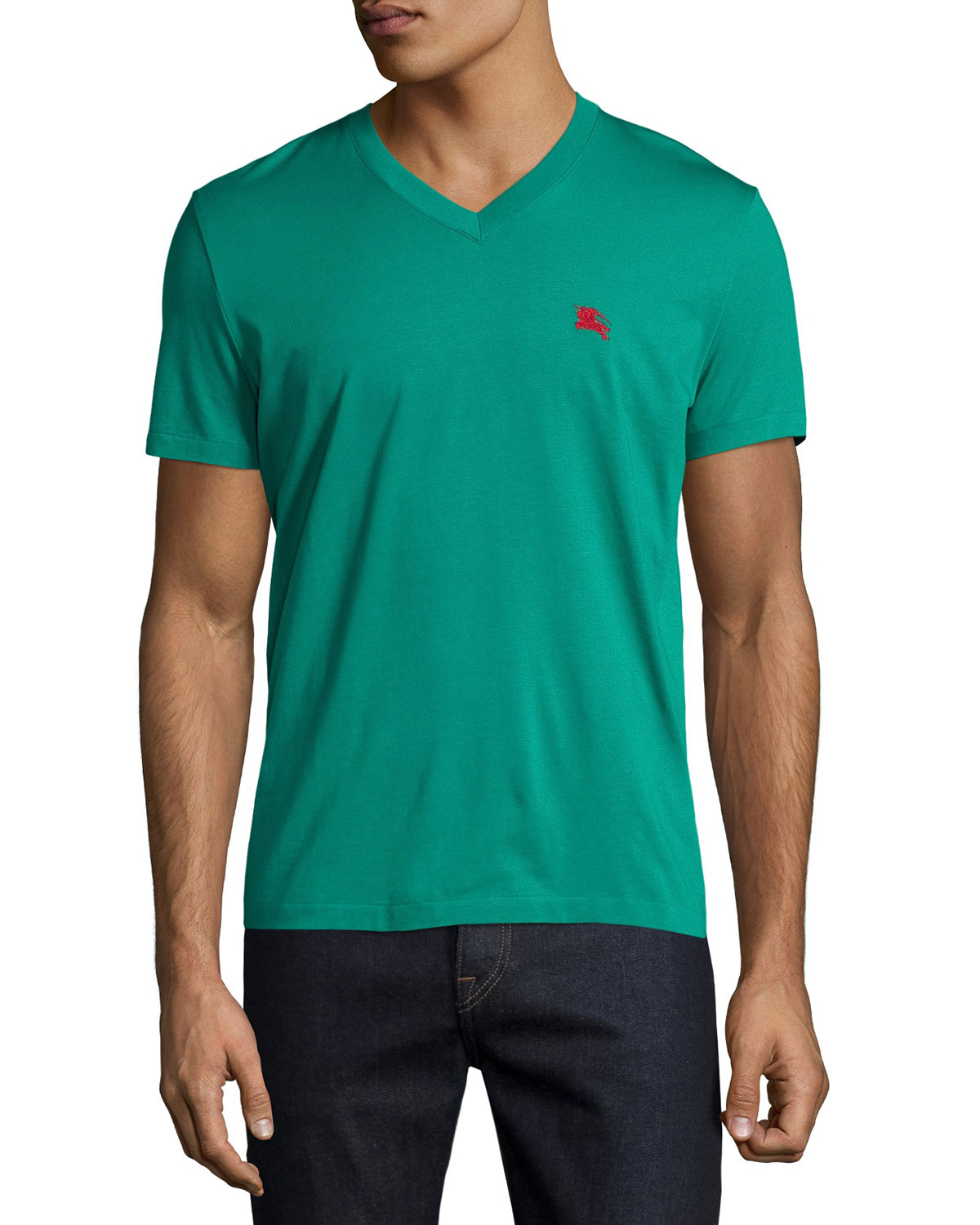 Lindon Cotton V-Neck T-Shirt, Bright Jade