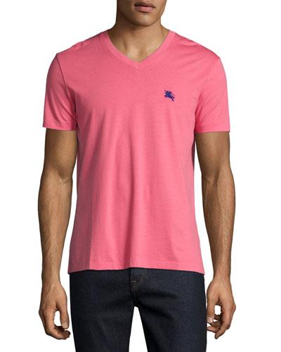 Lindon Cotton V-Neck T-Shirt, Light Pink