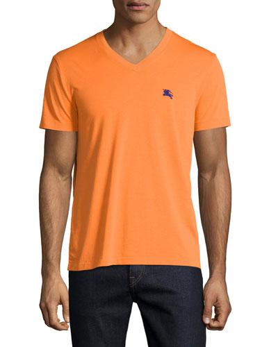 Lindon Cotton V-Neck T-Shirt, Clementine