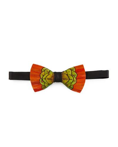 Cameron Feather Bow Tie, Orange