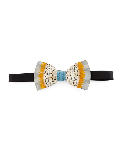 Stono Feather Bow Tie, Gray