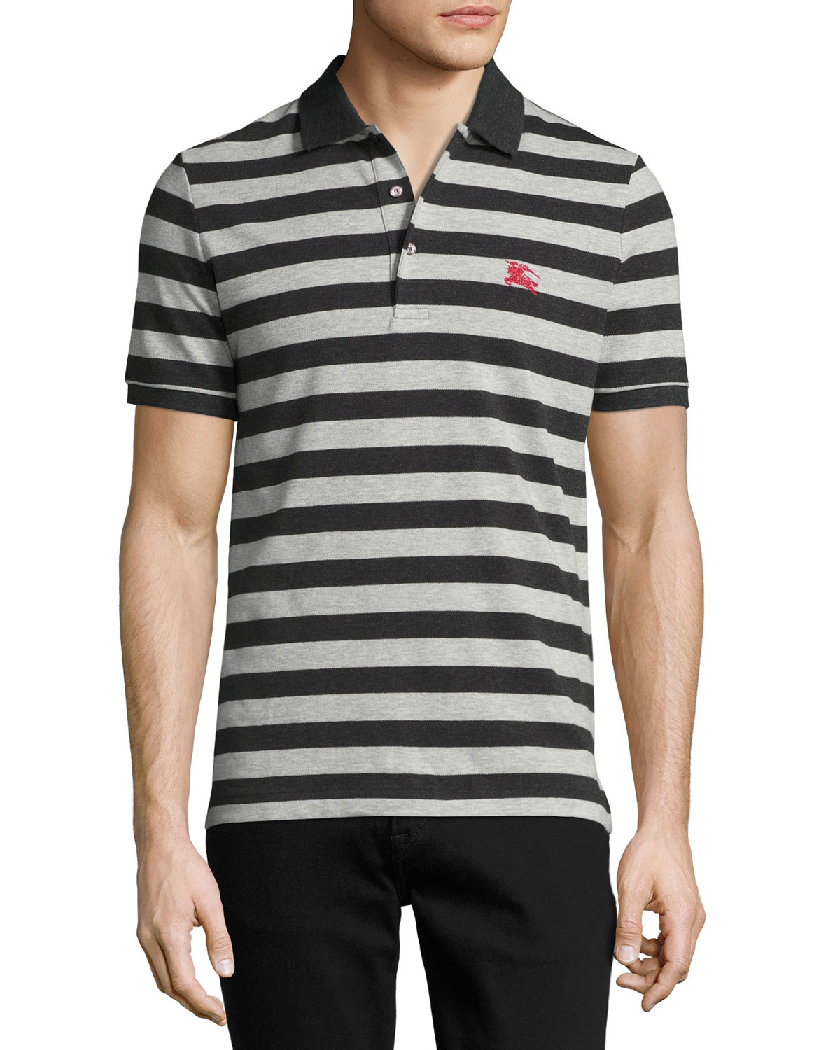 Striped Polo Shirt, Dark Charcoal/Pale Gray