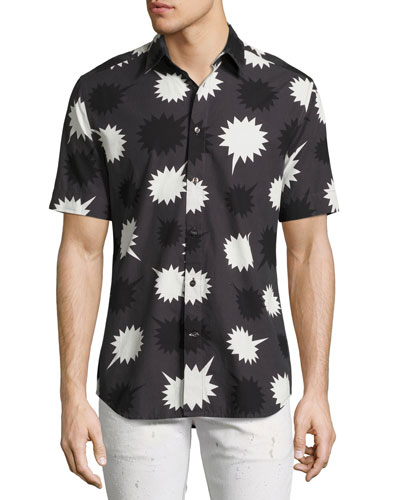 Pow Print Short-Sleeve Sport Shirt, Black