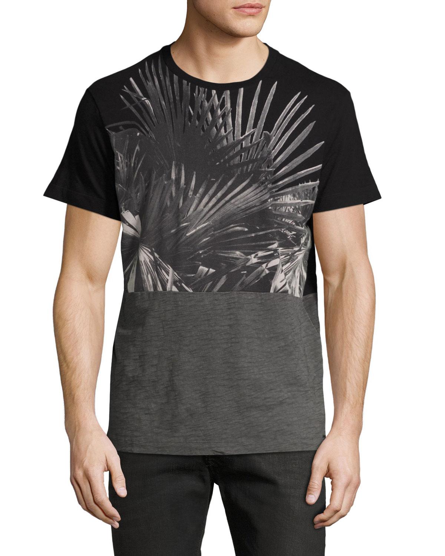 Paneled Palm Tree Shirt, Black