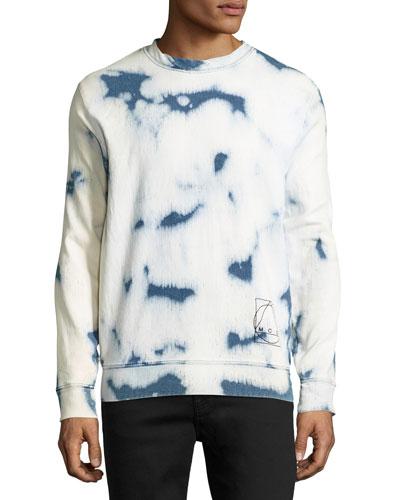 Bleached Crewneck Long-Sleeve T-Shirt, Blue/White
