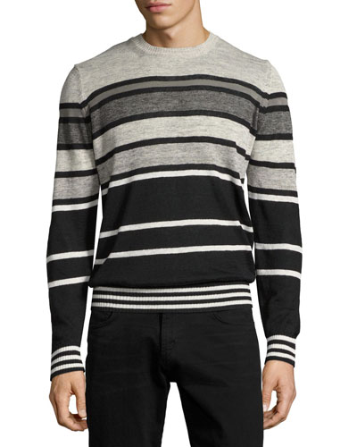 Striped Crewneck Sweater, Black