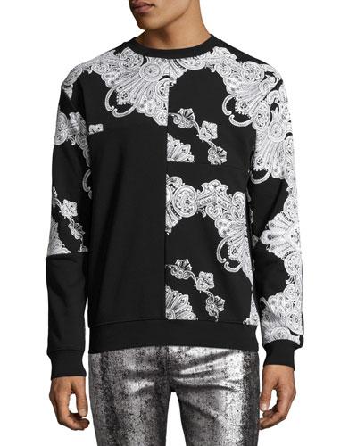 Baroque-Print Paneled Clean Crewneck Sweatshirt 02, Black