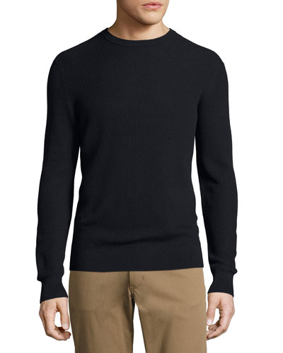Hilber Cotton Rib Crewneck Sweater, Navy