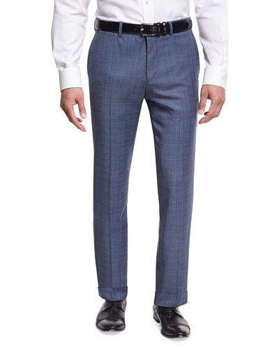 Marlo U. Camley Plaid Wool Straight-Leg Suit Pants, Blue