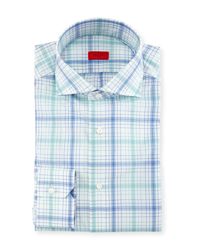 Check Dress Shirt, White/Green/Blue