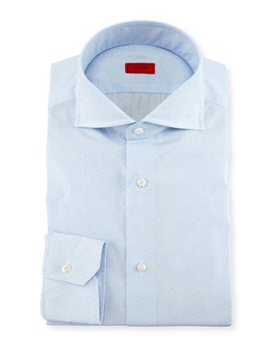 Tonal Micro-Dash Dress Shirt, Light Blue
