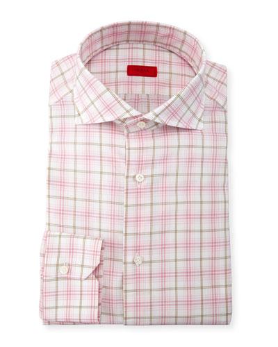 Check Dress Shirt, Pink/Tan/White