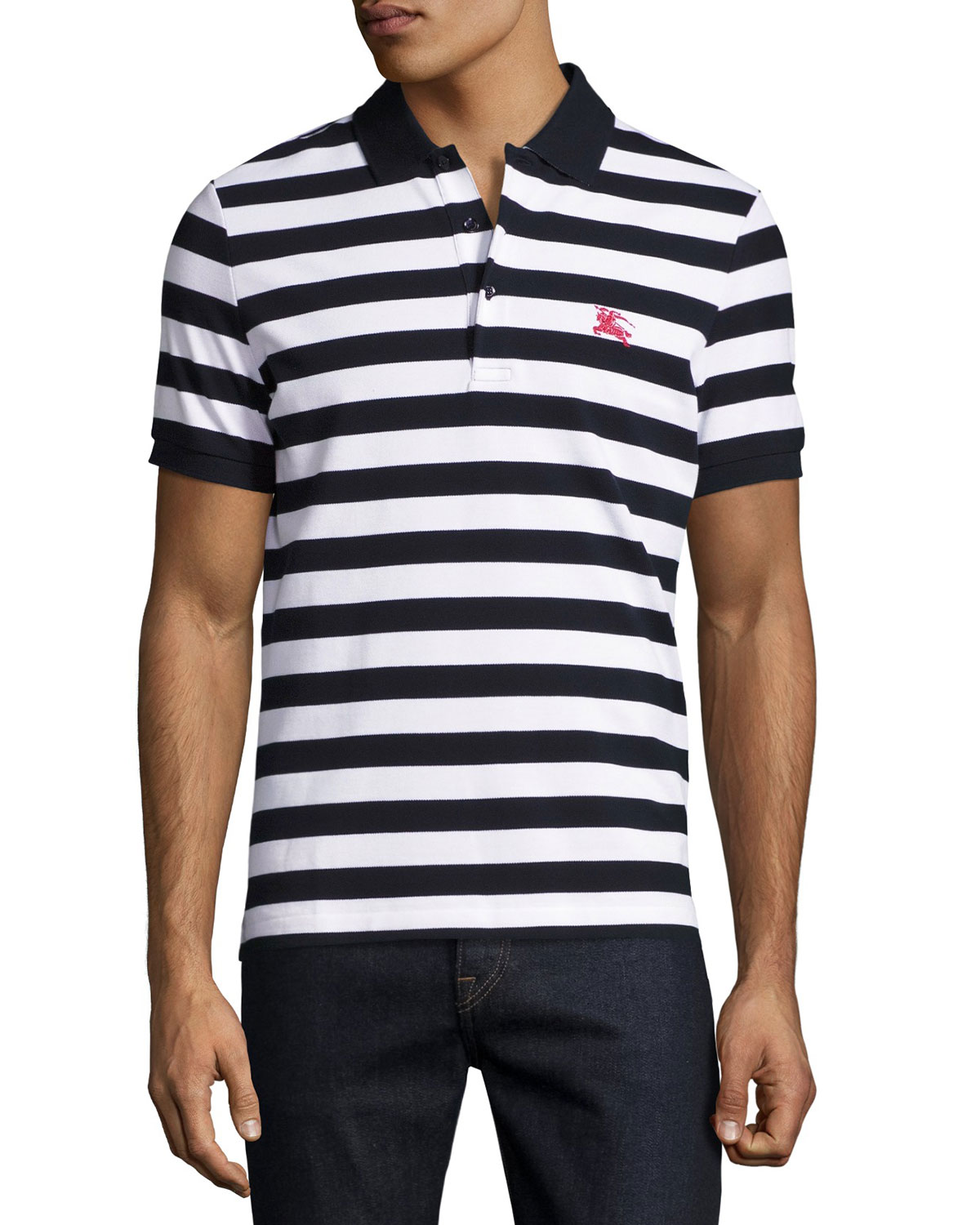 Striped Polo Shirt, White/Navy