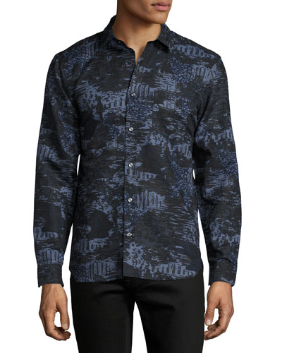 British Seaside Coastal-Print Sport Shirt, Bright Navy