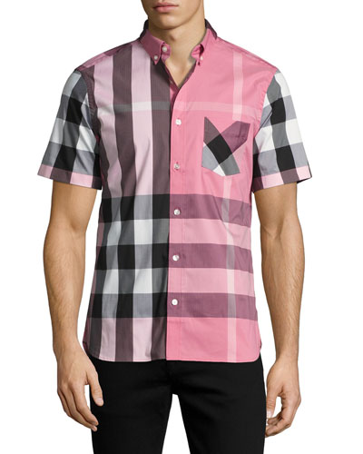 Thornaby Short-Sleeve Check Sport Shirt, Sugar Pink