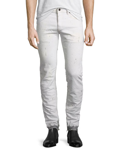 Painted Dip-Dye Slim-Straight Jeans, White