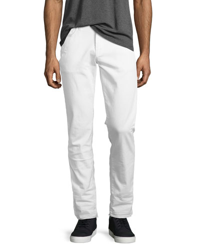 Tyler Tapered Jeans with Released Hem, White