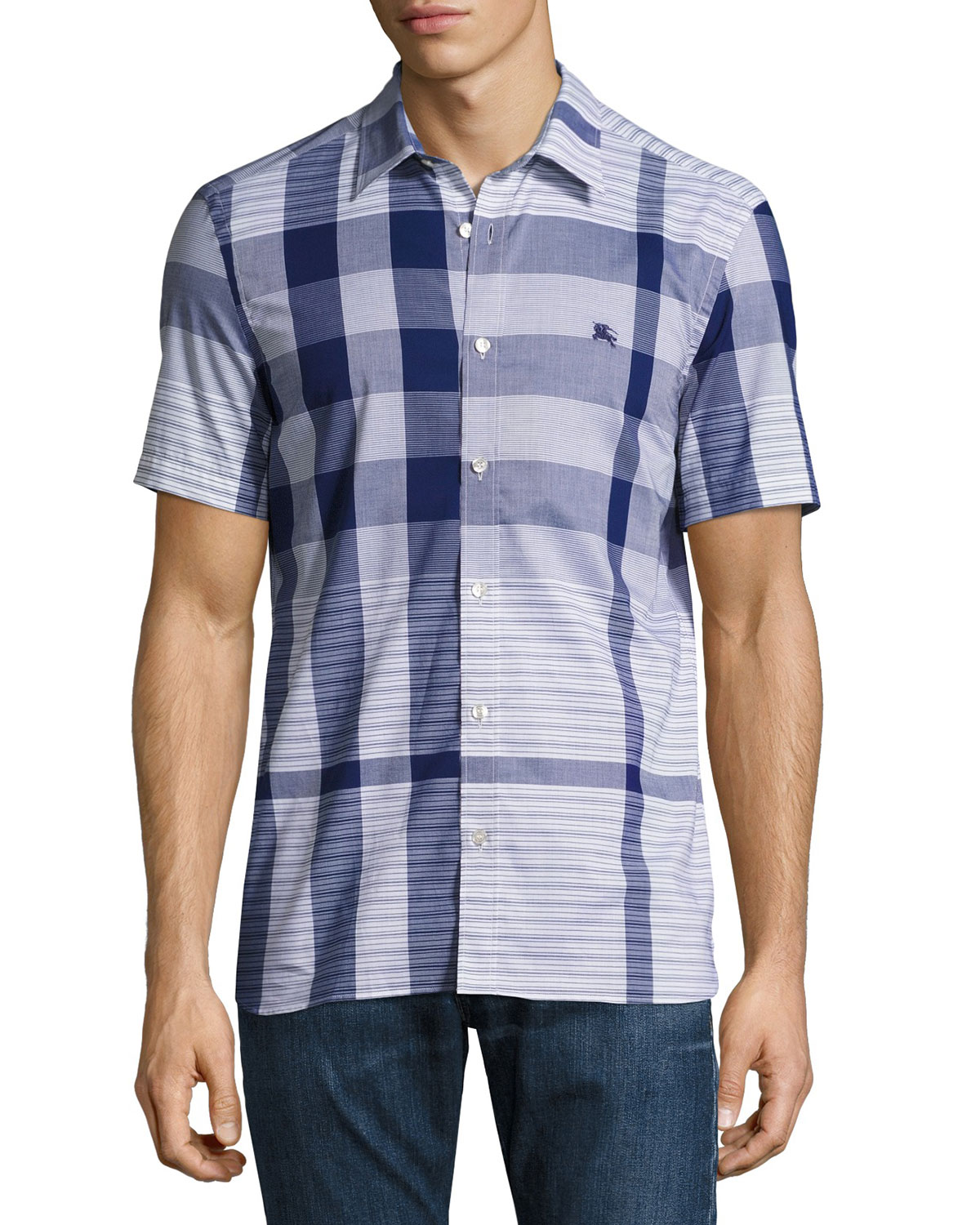 Ancroft Tonal Check Short-Sleeve Sport Shirt, Navy