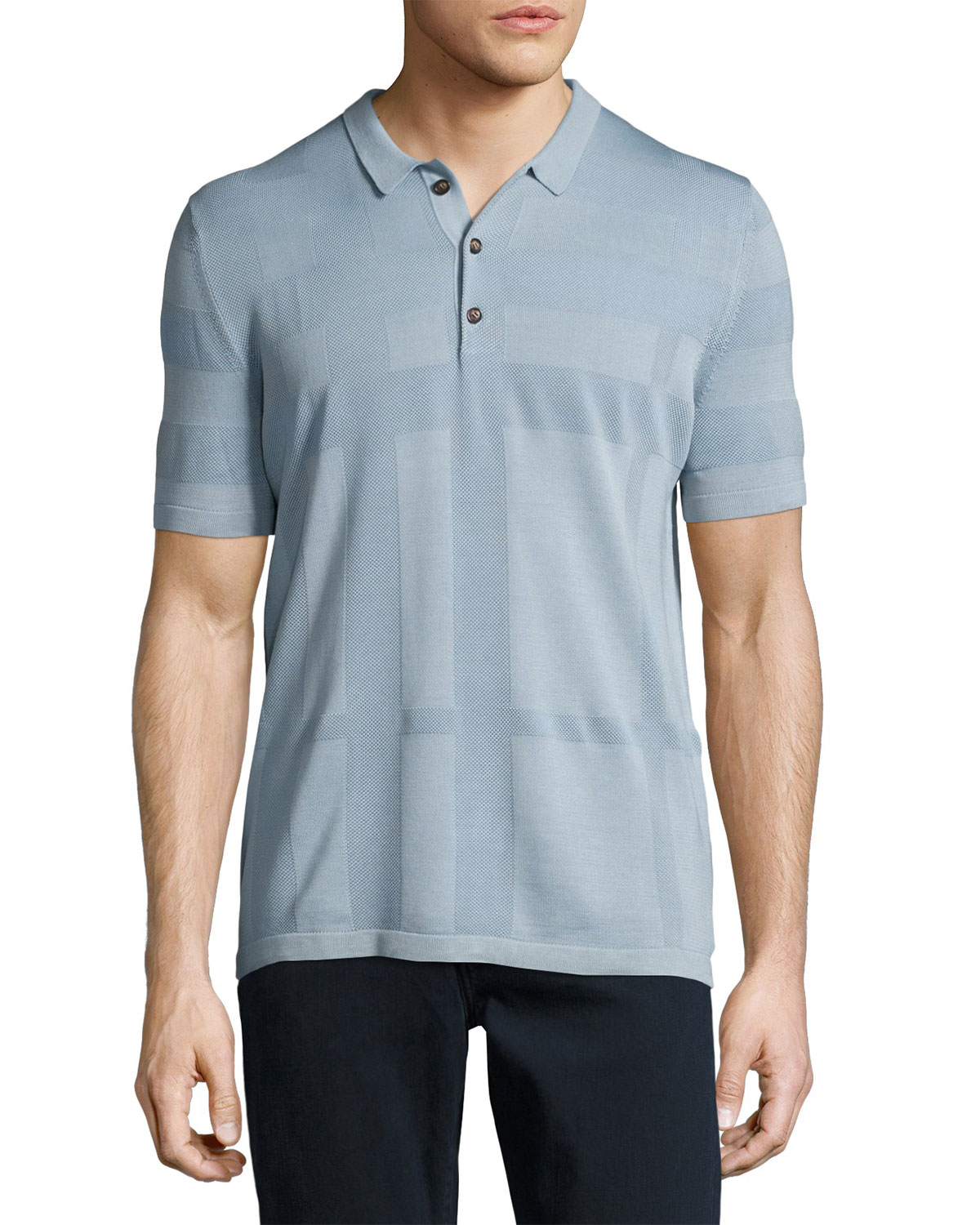 Enlarged Tonal Check Polo Shirt, Slate Blue