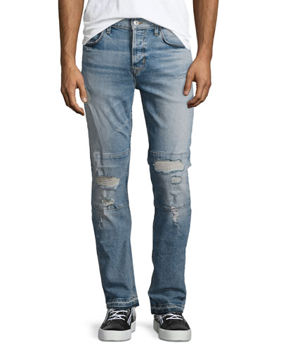 Sartor Slouchy Distressed Skinny Jeans, Intent Blue