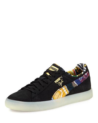 x COOGI Men's Clyde Suede Low-Top Sneaker, Black