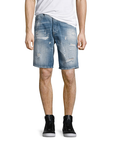 Distressed Jean Shorts, Blue