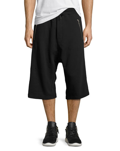 Dropped-Inseam Relaxed Sweat Shorts, Black