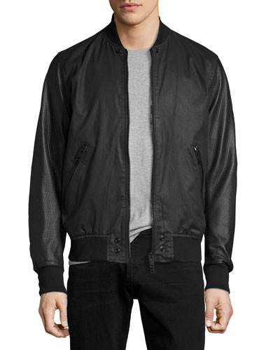 Coated Bomber Jacket with Perforated Leather Sleeves, Black